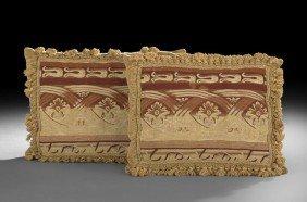 Pair Of Ochre Velvet And Tapestry Pillows