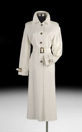 St. John Full Length White Cotton Trench Coat