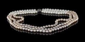 Triple Strand Of Multi-Colored Cultured Pearls