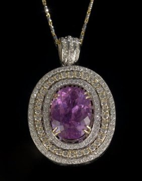14 Kt. Gold, Kunzite And Diamond Pendant Necklace