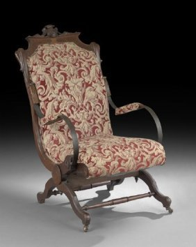 1264 american walnut palmer patent rocking chair lot 1264 for M furniture gallery new orleans
