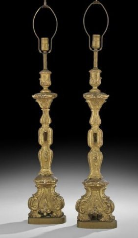 Pair of italian giltwood altar sticks lot 341 for M furniture gallery new orleans