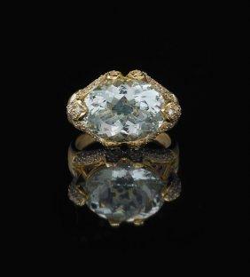 14 Kt. Yellow Gold, Aquamarine And Diamond Ring