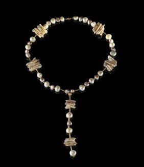 18 Kt. Gold And Baroque Freshwater Pearl Necklace