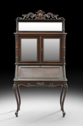 American rococo revival secretary bookcase lot 1068 for M furniture gallery new orleans