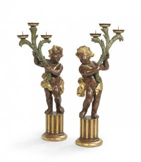 Pair Of Baroque-style Pricket Candlesticks