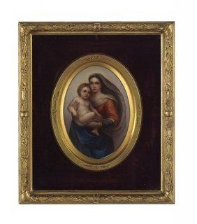 German Porcelain Plaque Of The Sistine Madonna