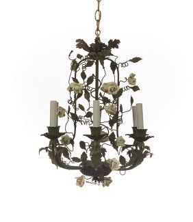 Italian Painted Metal And Porcelain Chandelier