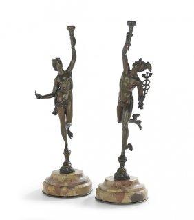 Pair Of French Bronze Figures Of Mercury & Venus