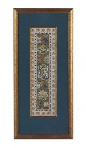 Pair Of Chinese Embroidered Silk Sleeve Panels