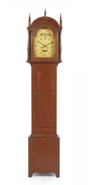 American Polychrome Pine Tall Case Clock