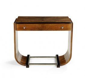 French Art Deco Walnut And Ebonized Console Table