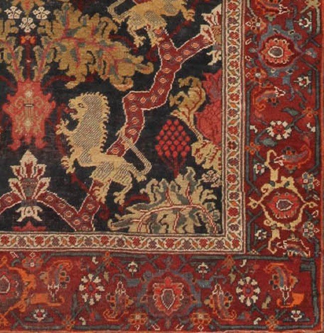 Antique Persian Bidjar Rug European Motif Lion Carpet