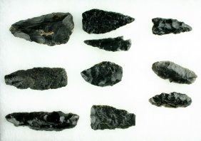 10 Large Obsidian Tools & Points