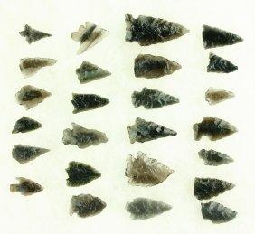 25 Translucent Obsidian Arrowheads