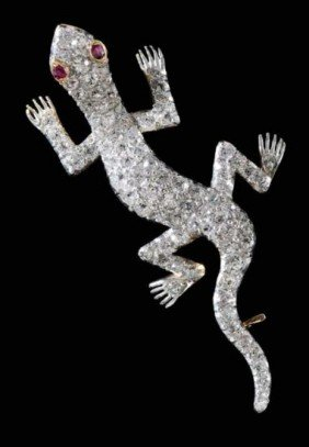 Vintage Platinum And 1930's Diamond Salamander Brooch