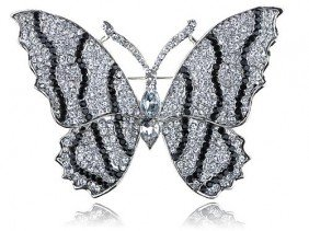 Dazzling Black And Clear Rhinestone Large Winged Butter