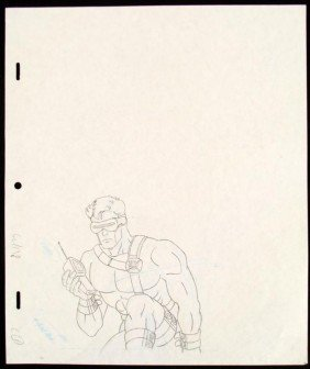 Cyclops Original Drawing Production X-MEN Phoning Help