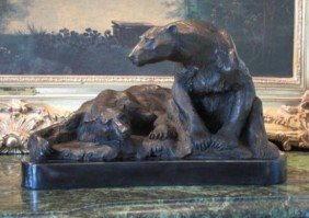 Gorgeous Bronze Sculpture Polar Bears