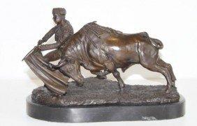Handsome Bronze Sculpture Kneeling Matador