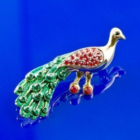 Faberge Long Tail Peacock Brooch