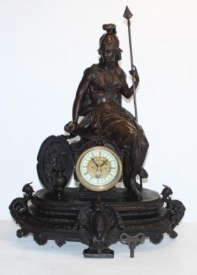 Magnificent Bronze Sculpture Britannia Goddess Mantel