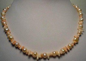 Elegant Coral And Freshwater Pearl Necklace MWF1734