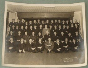 WWII 8X10 PHOTO OF NAVY GI'S @ LAKEVIEW CENTER 1944
