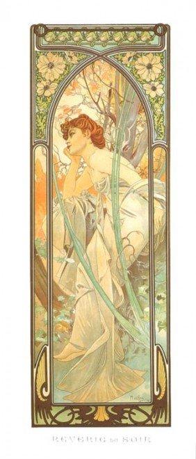 Alphonse Mucha : Reverie Du Soir Art Print