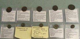 10 Ancient Roman Coins- Honorius Arcadius Valens
