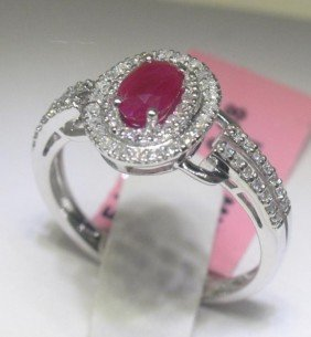 Ruby And .33 Carat Diamonds 14K White Gold Ring