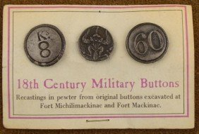 CARD W/3 18TH CENTURY MILITARY BUTTONS RECAST IN PEWTER
