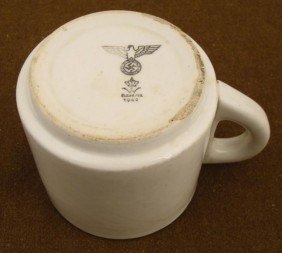 LARGE NAZI WEHRMACHT DINING HALL COFFEE CUP 1942