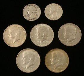 7 Silver Coins: 2 Washington Quarters, 5 Kennedy Halves