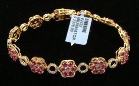 2.38 CT Sapphire Bracelet 11.20g 925 Silver Gold-Toned