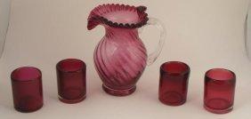 5 Pc. Fenton Glass Cranberry Swirl Pitcher Set