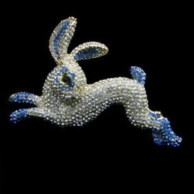 Blue Swarovski Crystal Rabbit Brooch