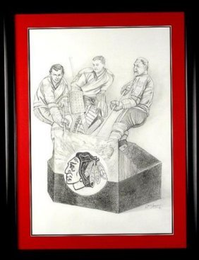 Original Blackhawk Hockey Drawing Mikita, Hull, Hall