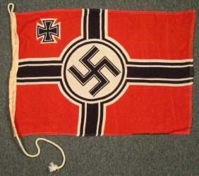 WWII Nazi Naval Flag W/ Iron Cross & Swastika