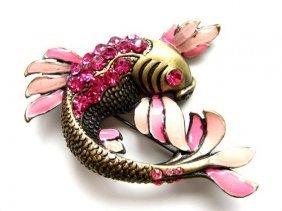 Pink Crystal Rhinestone & Enamel Koi Fish Brooch