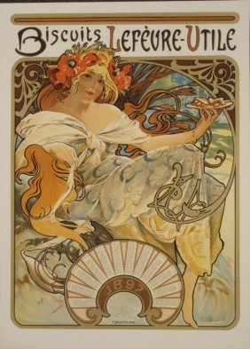 Alphonse Mucha : Biscuits Lefeure-Utile LU Art Print