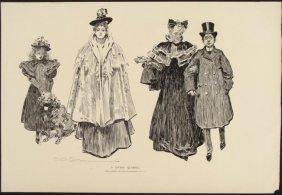 Charles Gibson Girl Orig Book Print 1896 LOVERS QUARREL