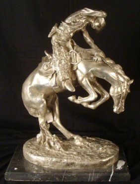 Frederic Remington Sculpture Cowboy On Horse Recast