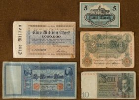FIVE PIECE GERMAN PRE-NAZI CURRENCY