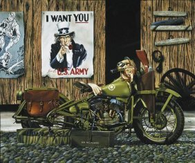 FREEDOM RIDERS Jacobs Harley Motorcycle LE Art Large