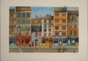 E Delcroy Signed Art Print Paris Street Scene
