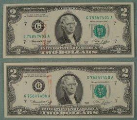 2 CU 1976 $2 Dollar Bills Ending No. 1 & 5 Bank Stamped