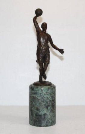 Towering Basketball Player Bronze Sculpture After Mil
