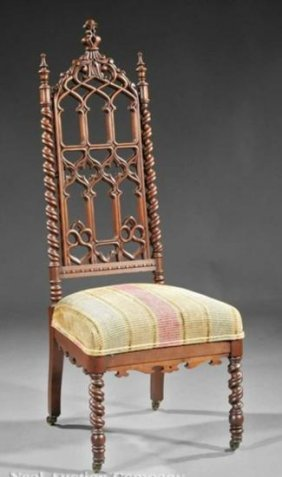 American Gothic Carved Walnut Hall Chair