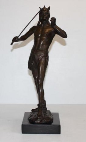 Royal Nude With Sword Bronze Sculpture After A. Leona